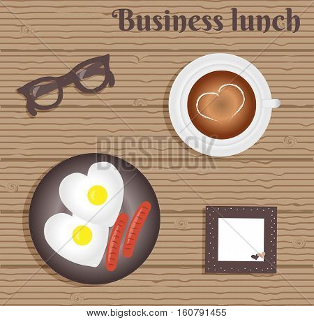 Business lunch: two fried eggs with two sausage. Cup with coffee on saucer. Burgundy glasses. Napkin with cute pink trim with white polka dots and hearts. Wooden background. Vector illustration.