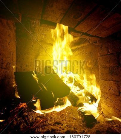 Homely warm log fire on a cold winter day