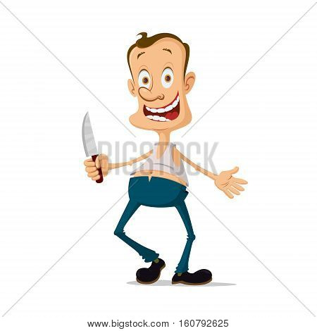 horror maniac murderer with knife cartoon character