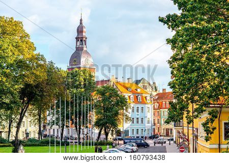 Riga, Latvia - September 22, 2016: View on the old town with bell tower of Dome church in Riga city, Latvia