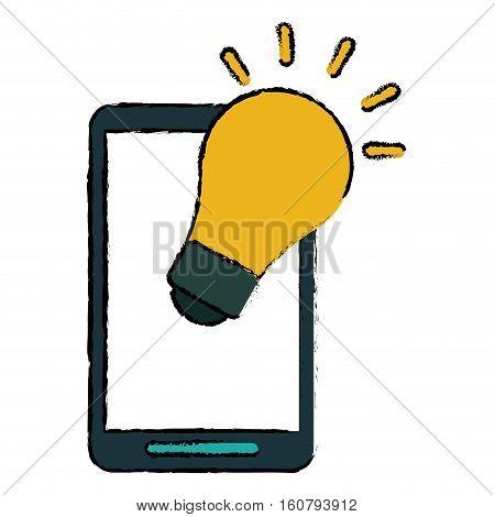 smartphone bulb idea imagination sketch vector illustration eps 10
