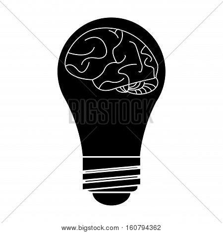 silhouette brain idea bulb concept vector illustration eps 10