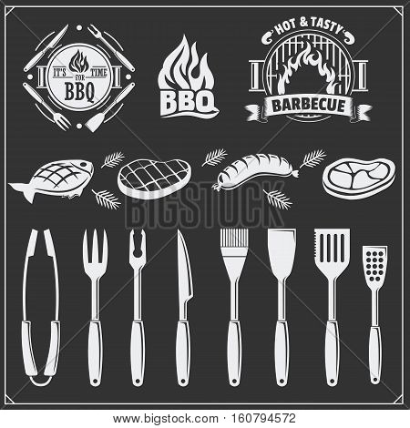 BBQ set. Steak icons, BBQ tools and labels and emblems. Vector monochrome illustration.