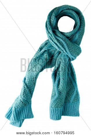 Scarf Isolated On White Background.scarf  Top View .turquoise Sarf