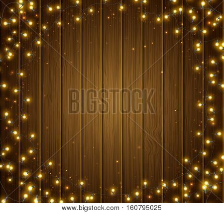 Fairy lights for festive decoration, realistic luminous bulbs. Colourful glowing Christmas round garland on wooden texture. Light effects for Christmas greeting cards, poster. Vector illustration