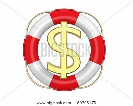 American dollar with lifebuoy 3D rendering isolated on white