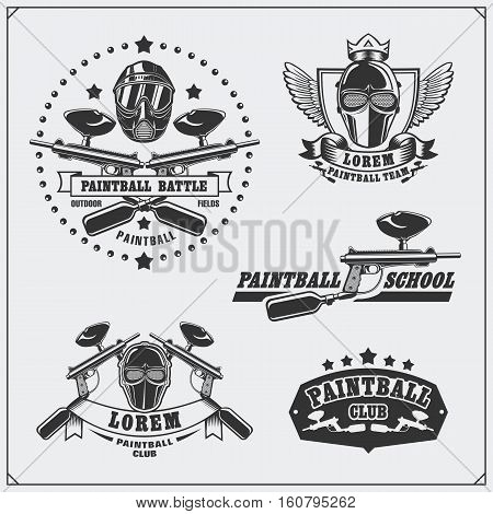 Set of paintball club labels, emblems, symbols, icons and design elements.