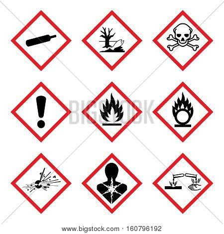 GHS 9 New Hazard Pictogram. Hazard warning sign ( WHMIS ), isolated vector illustration
