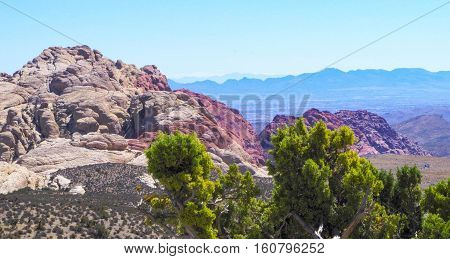 View of Las Vegas Nevada from loop drive in Red Rock Canyon National Park