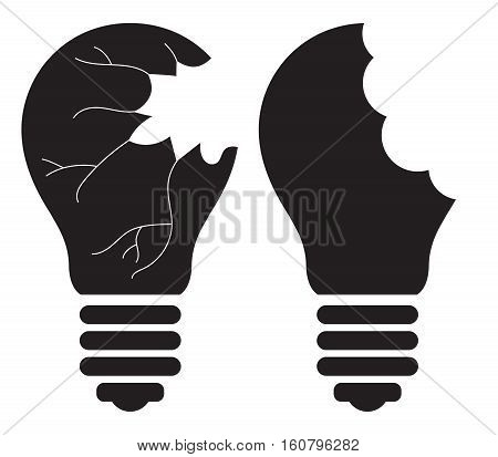 Light Bulb - Killing, Smashing, Shattering, Breaking, destroying, Stealing good idea concept. Vector icon