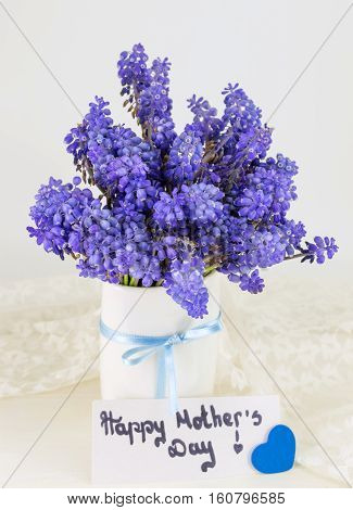 Bluebell Flowers In Vase And Happy Mothers Day Note