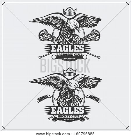 Lacrosse and hockey badges and labels. Sport club emblems with eagle.