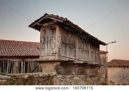 View of the Horreo typical spanish granary