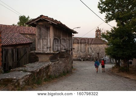 O CARBALLAL SPAIN - AUGUST 14: View of the Horreo typical spanish granary along the way of St. James on August 14 2016