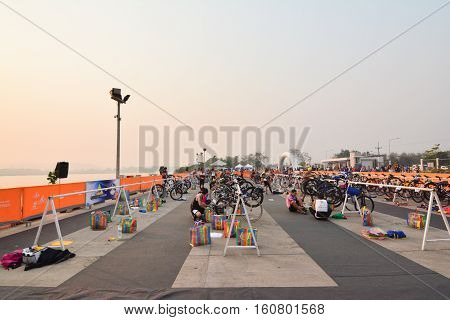 CHIANG RAITHAILAND-APR 32016 : Sporter prepare to ride bicycle in Golden Triangle Triathlon on April 3 2016 in Chiang sean district Chiang raiThailand.