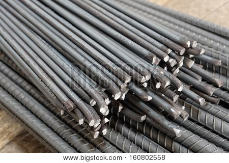 Rebar bending shape in a construction site,steel bar