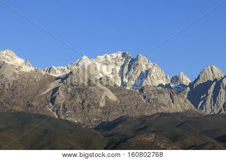 Close view of the Jade Dragon Snow Mountain in Yunnan China