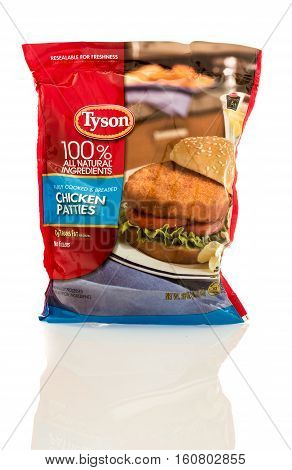 Winneconne WI - 7 December 2016: Bag Tyson 100% all natural ingredients chicken patties on an isolated background.