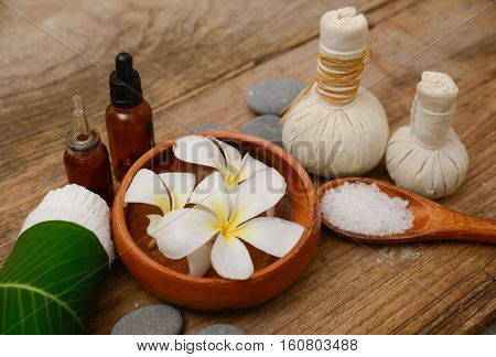 Spa treatment on old wooden background