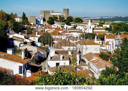 Obidos, Portugal, November 16, 2016: The medival city of Obidos in Portugal.