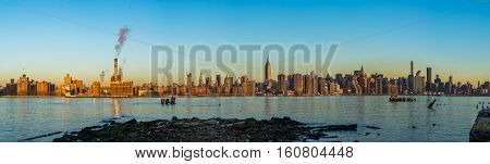 Midtown Manhattan from the east river early morning