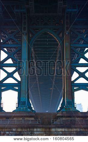 Looking under the manhattan bridge in early morning in New york city