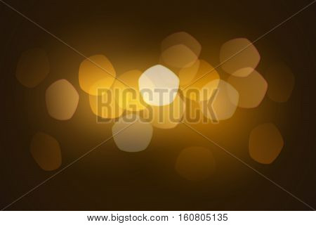 Realistically drawn bokeh considering lens distortion. Dark background in gold tones with bright spots of light in out of focus.