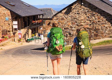 EL ACEBO DE SAN MIGUEL SPAIN - AUGUST 05: Pilgrimns along the way of St. James on August 05 2016