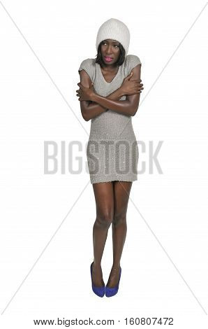 Black Woman Trying To Stay Warm