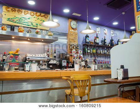 SANTANTER SPAIN - AUGUST 03: Interior of a coffee bar on August 03 2016