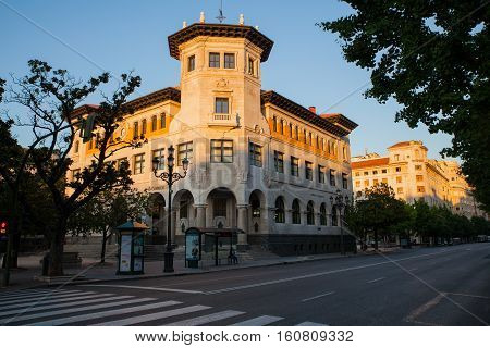 SANTANTER SPAIN - AUGUST 03: View of historical post office building at sunrise on August 03 2016