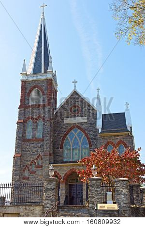 St. Peter's Roman Catholic Church in Harpers Ferry West Virginia USA. Church building in autumn.