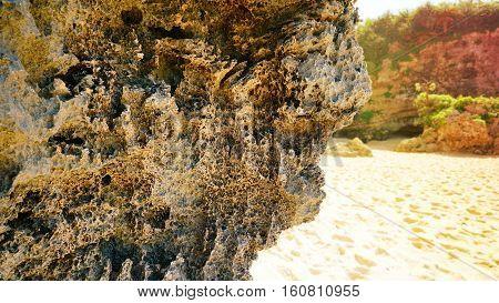 Close up of erosion Rock on the beach at Kouri Jima island. Okinawa Japan