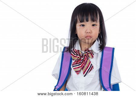 Crying Asian Chinese Little Student Girl With School Bag