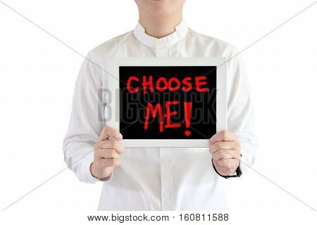 Asian man wear long white shirt ,say choose me ,with white background,blurred background