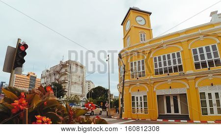 PHUKET THAILAND SEPTEMBER 27: Phuket old town in thalang road with Chino Portuguese style building is very famous destination for the tourist in Phuket Thailand on September 27 2016.