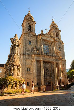 SANTIAGO SPAIN - AUGUST 17: Monastery of St. Francis and a monument to its founder St. Francis of Assisi on August 17 2016