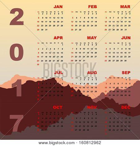 Sunset mountain view of 2017 calendar stock vector