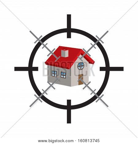 crosshair on a 3d house vector on a white background