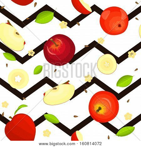 Seamless vector pattern of ripe fruit. Zig zag background with delicious juicy red apples, whole, slice, half, slice, leaves. Illustration can used for printing on fabric, textile in design packaging