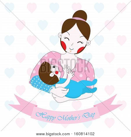 Mother's day illustration with cute mom and baby on white background suitable for Mother's day greeting card, postcard, and wallpaper