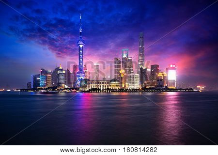 China Shanghai city skyline at dusk Shanghai China