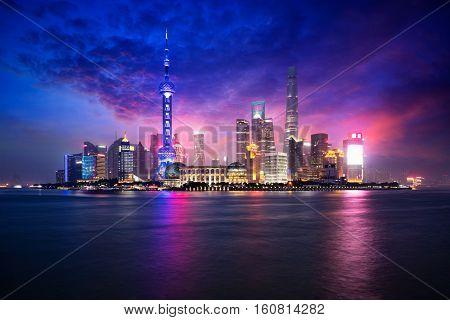 China Shanghai city skyline at dusk Shanghai China