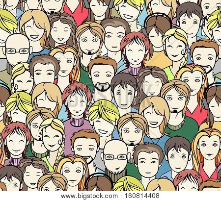 different people faces in a crowd seamless pattern