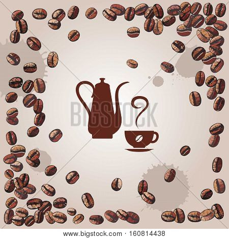 coffee background with coffee beans and kettle vector illustration