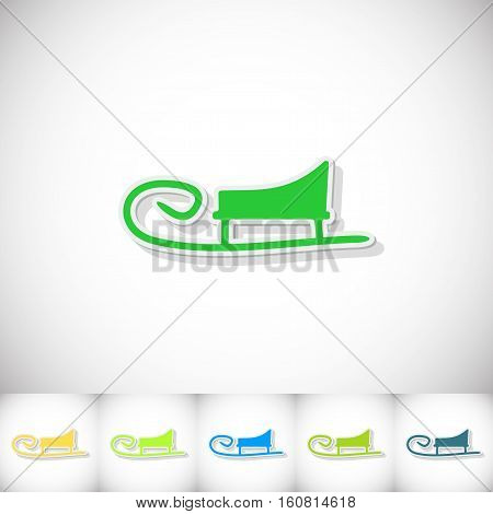 Sledge. Flat sticker with shadow on white background. Vector illustration