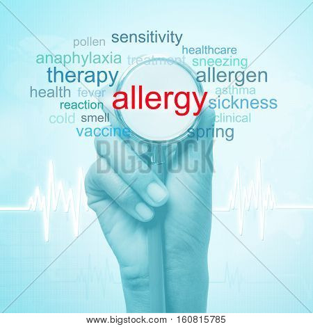 hand holding stethoscope with allergy word. medical concept