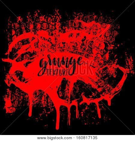 Red grunge background with splats and drops. Vector illustration