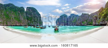 Panorama of Long boat and blue water at Maya bay in Phi Phi Island Krabi Thailand.