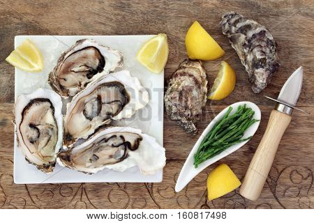 Oysters on crushed ice on a square china plate with oyster knife, samphire and lemon fruit on old wooden background.
